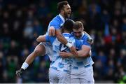 21 October 2017; Noel Reid of Leinster celebrates with his team mates Dan Leavy and Jamison Gibson-Park after scoring his side's fourth try during the European Rugby Champions Cup Pool 3 Round 2 match between Glasgow Warriors and Leinster at Scotstoun in Glasgow, Scotland. Photo by Ramsey Cardy/Sportsfile