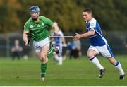 21 October 2017; Conor Lehane of Ireland in action against Daniel Grieve of Scotland during the Shinty International match between Ireland and Scotland at Bught Park in Inverness, Scotland. Photo by Piaras Ó Mídheach/Sportsfile