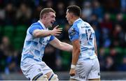 21 October 2017; Noel Reid of Leinster celebrates with team-mate Dan Leavy, left, after scoring his side's fourth try during the European Rugby Champions Cup Pool 3 Round 2 match between Glasgow Warriors and Leinster at Scotstoun in Glasgow, Scotland. Photo by Ramsey Cardy/Sportsfile