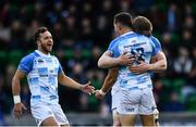 21 October 2017; Noel Reid of Leinster celebrates with team-mates Dan Leavy and Jamison Gibson-Park after scoring his side's fourth try during the European Rugby Champions Cup Pool 3 Round 2 match between Glasgow Warriors and Leinster at Scotstoun in Glasgow, Scotland. Photo by Ramsey Cardy/Sportsfile