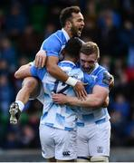 21 October 2017; Noel Reid of Leinster celebrates with team-mates Jamison Gibson-Park, left, and Dan Leavy after scoring his side's fourth try during the European Rugby Champions Cup Pool 3 Round 2 match between Glasgow Warriors and Leinster at Scotstoun in Glasgow, Scotland. Photo by Ramsey Cardy/Sportsfile