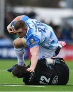 21 October 2017; Dan Leavy of Leinster is tackled by Peter Horne of Glasgow Warriors during the European Rugby Champions Cup Pool 3 Round 2 match between Glasgow Warriors and Leinster at Scotstoun in Glasgow, Scotland. Photo by Ramsey Cardy/Sportsfile