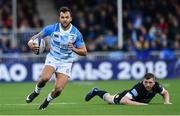 21 October 2017; Jamison Gibson-Park of Leinster beats the tackle by Finn Russell of Glasgow Warriors during the European Rugby Champions Cup Pool 3 Round 2 match between Glasgow Warriors and Leinster at Scotstoun in Glasgow, Scotland. Photo by Ramsey Cardy/Sportsfile