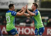21 October 2017; Matt Healy, right, is congratulated by his teammate Cian Kelleher of Connacht after scoring his side's second try during the European Rugby Champions Cup Pool 5 Round 2 match between Connacht and Worcester Warriors at the Sportsground in Galway. Photo by Matt Browne/Sportsfile