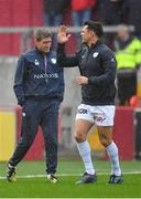 21 October 2017; Racing 92 defence coach Ronan O'Gara, left, and Dan Carter of Racing 92 prior to the European Rugby Champions Cup Pool 4 Round 2 match between Munster and Racing 92 at Thomond Park in Limerick. Photo by Brendan Moran/Sportsfile