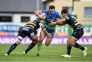21 October 2017; Craig Ronaldson of Connacht is tackled by Wynand Olivier, left, and Jackson Willison of Worcester Warriors during the European Rugby Champions Cup Pool 5 Round 2 match between Connacht and Worcester Warriors at the Sportsground in Galway. Photo by Matt Browne/Sportsfile