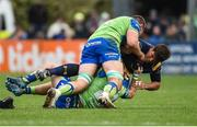 21 October 2017; Donncha O'Callaghan of Worcester Warriors is tackled by Kieran Marmion, bottom, and James Cannon of Connacht during the European Rugby Champions Cup Pool 5 Round 2 match between Connacht and Worcester Warriors at the Sportsground in Galway. Photo by Matt Browne/Sportsfile