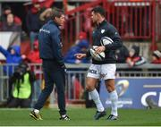 21 October 2017; Racing 92 defence coach Ronan O'Gara, left, with Dan Carter of Racing 92, ahead of the European Rugby Champions Cup Pool 4 Round 2 match between Munster and Racing 92 at Thomond Park in Limerick. Photo by Diarmuid Greene/Sportsfile