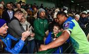 21 October 2017; Bundee Aki of Connacht with supporters after the European Rugby Champions Cup Pool 5 Round 2 match between Connacht and Worcester Warriors at the Sportsground in Galway. Photo by Matt Browne/Sportsfile