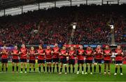 21 October 2017; Munster players during a minutes applause in memory of the late Munster Rugby head coach Anthony Foley prior to the European Rugby Champions Cup Pool 4 Round 2 match between Munster and Racing 92 at Thomond Park in Limerick. Photo by Brendan Moran/Sportsfile