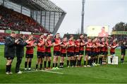 21 October 2017; Munster players observe a minutes applause for the late Munster Rugby head coach Anthony Foley prior to the European Rugby Champions Cup Pool 4 Round 2 match between Munster and Racing 92 at Thomond Park in Limerick. Photo by Diarmuid Greene/Sportsfile