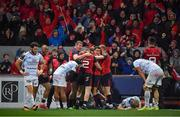 21 October 2017; Munster players celebrate their second try scored by Andrew Conway during the European Rugby Champions Cup Pool 4 Round 2 match between Munster and Racing 92 at Thomond Park in Limerick. Photo by Brendan Moran/Sportsfile
