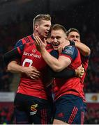 21 October 2017; Munster players, from left, Chris Farrell, Rory Scannell and Ian Keatley congratulate Conor Murray, 9, after scoring their side's first try during the European Rugby Champions Cup Pool 4 Round 2 match between Munster and Racing 92 at Thomond Park in Limerick. Photo by Brendan Moran/Sportsfile