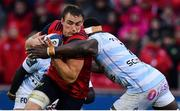 21 October 2017; Tommy O'Donnell of Munster is tackled by Yannick Nyanga of Racing 92 during the European Rugby Champions Cup Pool 4 Round 2 match between Munster and Racing 92 at Thomond Park in Limerick. Photo by Brendan Moran/Sportsfile