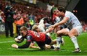 21 October 2017; Andrew Conway of Munster goes over to score his side's second try during the European Rugby Champions Cup Pool 4 Round 2 match between Munster and Racing 92 at Thomond Park in Limerick. Photo by Diarmuid Greene/Sportsfile