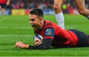 21 October 2017; Conor Murray of Munster celebrates after scoring his side's first try during the European Rugby Champions Cup Pool 4 Round 2 match between Munster and Racing 92 at Thomond Park in Limerick. Photo by Brendan Moran/Sportsfile
