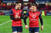 21 October 2017; Try scorers Conor Murray, left, and Andrew Conway celebrate after the European Rugby Champions Cup Pool 4 Round 2 match between Munster and Racing 92 at Thomond Park in Limerick. Photo by Brendan Moran/Sportsfile