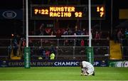 21 October 2017; Leone Nakawara of Racing 92 reacts after the European Rugby Champions Cup Pool 4 Round 2 match between Munster and Racing 92 at Thomond Park in Limerick. Photo by Diarmuid Greene/Sportsfile