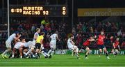 21 October 2017; Munster players Conor Murray, right, and Peter O'Mahony combine to block a kick by Maxime Machenaud of Racing 92, leading to Munster's first try scored by Murray, during the European Rugby Champions Cup Pool 4 Round 2 match between Munster and Racing 92 at Thomond Park in Limerick. Photo by Brendan Moran/Sportsfile