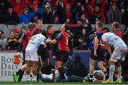 21 October 2017; JJ Hanrahan of Munster celebrates with team-mates Chris Farrell and Ian Keatley after scoring their side's second try during the European Rugby Champions Cup Pool 4 Round 2 match between Munster and Racing 92 at Thomond Park in Limerick. Photo by Brendan Moran/Sportsfile