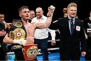 21 October 2017; Ryan Burnett celebrates after winning his IBF & WBA Super World Bantamweight Championship bout with Zhanat Zhakiyanov at the SSE Arena in Belfast. Photo by David Fitzgerald/Sportsfile