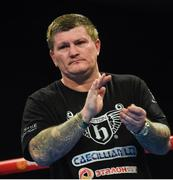 21 October 2017; Zhanat Zhakiyanov's coach Ricky Hatton prior to the IBF & WBA Super World Bantamweight Championship bout between Ryan Burnett and Zhanat Zhakiyanov at the SSE Arena in Belfast. Photo by David Fitzgerald/Sportsfile