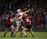 22 October 2017; Jack Fagan of De La Salle in action against Harley Barnes, left, Shane O'Sullivan, behind, and Wayne Hutchinson of Ballygunner during the Waterford County Senior Hurling Final match between Ballygunner and De La Salle at Walsh Park in Waterford. Photo by Seb Daly/Sportsfile