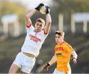 22 October 2017; David Clarke of Ballintubber in action against James Durcan of Castlebar Mitchels during the Mayo County Senior Football Championship Final match between Ballintubber and Castlebar Mitchels at Elvery's MacHale Park in Castlebar, Mayo. Photo by Stephen McCarthy/Sportsfile