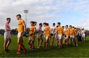 22 October 2017; Cillian O'Connor of Ballintubber and Barry Moran of Castlebar Mitchels shake hands prior to the Mayo County Senior Football Championship Final match between Ballintubber and Castlebar Mitchels at Elvery's MacHale Park in Castlebar, Mayo. Photo by Stephen McCarthy/Sportsfile