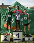 22 October 2017; Top three finishers in the Senior Men division, first place Hiko Tonosa, centre, Dundrum South Dublin A.C., second place Gideon Kipsang Kimosop, left, Derry Track Club, and third place Adam Kirk-Smith, Derry Track Club during the Autumn Open Cross Country Festival at the National Sports Campus in Abbotstown, Dublin. Photo by Cody Glenn/Sportsfile
