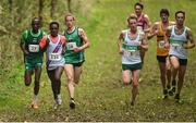22 October 2017; A general view of the Senior Men's field including eventual winner Hiko Tonosa, second from left, Dundrum South Dublin AC, number 125, second place finisher Gideon Kipsang Kimosop, far left, Derry Track Club, number 27, third place finisher Adam Kirk-Smith, Derry Track Club, number 28, fourth place finisher Kevin Dooney, Raheny Shamrock AC, number 8, and fifth place finisher Conor Dooney, far right, Raheny Shamrock AC, number 9, during the Autumn Open Cross Country Festival at the National Sports Campus in Abbotstown, Dublin. Photo by Cody Glenn/Sportsfile