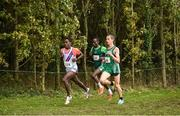 22 October 2017; Top three finishers of the Senior Men's race, from front, eventual winner Hiko Tonosa, Dundrum South Dublin AC, second place finisher Gideon Kipsang Kimosop, Derry Track Club, and third place finisher Adam Kirk-Smith, Derry Track Club, during the Autumn Open Cross Country Festival at the National Sports Campus in Abbotstown, Dublin. Photo by Cody Glenn/Sportsfile