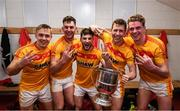 22 October 2017; Castlebar Mitchels players, from left, Shane Irwin, Barry Moran, Donie Newcombe, Eoghan O'Reilly and Danny Kirby celebrate with the Moclair Cup after winning their Mayo County Senior Football Championship Final for the thrid year in a row following the match between Ballintubber and Castlebar Mitchels at Elvery's MacHale Park in Castlebar, Mayo. Photo by Stephen McCarthy/Sportsfile