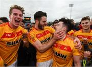 22 October 2017; Castlebar Mitchels players, from left, Danny Kirby, Ger McDonagh, Cian Costello and Callum Kyne celebrate following the Mayo County Senior Football Championship Final match between Ballintubber and Castlebar Mitchels at Elvery's MacHale Park in Castlebar, Mayo. Photo by Stephen McCarthy/Sportsfile