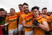 22 October 2017; Castlebar Mitchels players, from left, Barry Redmond, Shane Irwin, Danny Kirby, Ger McDonagh and Cian Costello celebrate following the Mayo County Senior Football Championship Final match between Ballintubber and Castlebar Mitchels at Elvery's MacHale Park in Castlebar, Mayo. Photo by Stephen McCarthy/Sportsfile