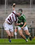 22 October 2017; Gerard Bradley of Slaughtneil is fouled by Mark Fisher of Ballygalget, resulting in a red card, during the AIB Ulster GAA Hurling Senior Club Championship Final match between Ballygalget and Slaughtneil at Athletic Grounds in Armagh. Photo by Ramsey Cardy/Sportsfile