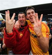 22 October 2017; Castlebar Mitchels manager Declan O'Reilly and Barry Moran celebrate winning their third consecutive Mayo County Senior Football Championship Final following the match between Ballintubber and Castlebar Mitchels at Elvery's MacHale Park in Castlebar, Mayo. Photo by Stephen McCarthy/Sportsfile
