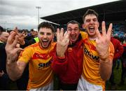 22 October 2017; Castlebar Mitchels manager Declan O'Reilly with Donie Newcombe, left, and Barry Moran celebrate winning their third consecutive Mayo County Senior Football Championship Final following the match between Ballintubber and Castlebar Mitchels at Elvery's MacHale Park in Castlebar, Mayo. Photo by Stephen McCarthy/Sportsfile