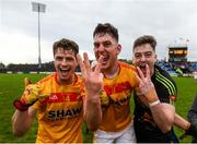 22 October 2017; Castlebar Mitchels players, from left, Neil Douglas, Barry Moran and Barry Redmond celebrate their clubs third consecutive Mayo County Senior Football Championship Final victory following the match between Ballintubber and Castlebar Mitchels at Elvery's MacHale Park in Castlebar, Mayo. Photo by Stephen McCarthy/Sportsfile