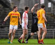22 October 2017; Cillian O'Connor of Ballintubber receives a red card from referee Declan Corcoran during the Mayo County Senior Football Championship Final match between Ballintubber and Castlebar Mitchels at Elvery's MacHale Park in Castlebar, Mayo. Photo by Stephen McCarthy/Sportsfile