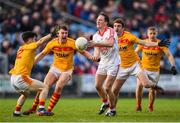 22 October 2017; Alan Dillon of Ballintubber in action against Castlebar Mitchels players, from left, Cian Costello, Barry Moran, Ray O'Malley and Shane Irwin during the Mayo County Senior Football Championship Final match between Ballintubber and Castlebar Mitchels at Elvery's MacHale Park in Castlebar, Mayo. Photo by Stephen McCarthy/Sportsfile