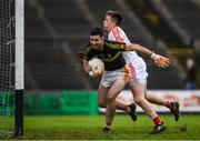 22 October 2017; Rory Byrne of Castlebar Mitchels in action against Cillian O'Connor of Ballintubber during the Mayo County Senior Football Championship Final match between Ballintubber and Castlebar Mitchels at Elvery's MacHale Park in Castlebar, Mayo. Photo by Stephen McCarthy/Sportsfile