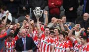 22 October 2017; Seamie Harnedy of Imokilly lifting the cup after the Cork County Senior Hurling Championship Final match between Blackrock and Imokilly at Páirc Uí Chaoimh in Cork. Photo by Eóin Noonan/Sportsfile