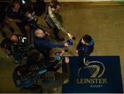 23 October 2017; A general view of Leinster's Noel Reid and members of the press, during a press conference at Leinster Rugby HQ in UCD, Belfield, Dublin.  Photo by Seb Daly/Sportsfile
