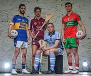 23 October 2017; At the launch of the 2017/2018 AIB GAA Club Championships #TheToughest, the 26th year of AIB's sponsorship of the Championships, are from left, Kilcar and Donegal star Ryan McHugh, St. Martin's and Wexford star Mags D'arcy, Na Piarsaigh and Limerick star Shane Dowling and Ballymun Kickhams and Dublin star John Small. For exclusive content and to see why AIB are backing Club and County follow us on Twitter, Instagram, Snapchat, Facebook and AIB.ie/GAA. Photo by Ramsey Cardy/Sportsfile