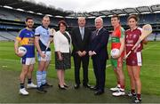 23 October 2017;  At the launch of the 2017/2018 AIB GAA Club Championship #TheToughest, the 26th year of AIB's sponsorship of the Championships are, from left, Kilcar and Donegal star, Ryan McHugh, Na Piarsiagh and Limerick star, Shane Dowling, Catherine Meary, President of The Camogie Association Catherine Neary, Head of Retail Banking at AIB Denis O'Callaghan, Uachtarán Chumann Lúthchleas Gael, Aogán Ó Fearghail, Ballymun Kickhams and Dublin star, John Small, and St. Martin's and Wexford star, Mags D'Arcy. For exclusive content and to see why AIB are backing Club and County follow us on Twitter, Instagram, Snapchat, Facebook and AIB.ie/GAA. Photo by Sam Barnes/Sportsfile