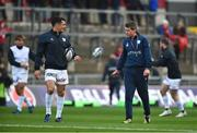 21 October 2017; Racing 92 defence coach Ronan O'Gara, right, with Dan Carter of Racing 92, ahead of the European Rugby Champions Cup Pool 4 Round 2 match between Munster and Racing 92 at Thomond Park in Limerick Photo by Diarmuid Greene/Sportsfile
