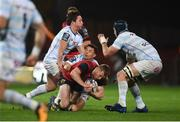 21 October 2017; Keith Earls of Munster is tackled by Dan Carter and Henry Chavancy of Racing 92 during the European Rugby Champions Cup Pool 4 Round 2 match between Munster and Racing 92 at Thomond Park in Limerick. Photo by Diarmuid Greene/Sportsfile