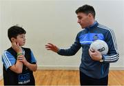 24 October 2017; Dublin footballer Paddy Andrews was in Holy Spirit BNS in Ballymun today at an AIG Heroes event with pupil Carl Dunne, 12, from Ballymun. The AIG Heroes initiative is a programme that leverages AIG's sporting sponsorships to help provide positive role models and build confidence for young people in local communities. Photo by Sam Barnes/Sportsfile