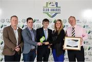 24 October 2017; Shamrock Rovers representatives, from left, Mark Lynch, Stephen Kelly, Paul Mladjenovic and Stephen Gleeson, are presented with the Best Match Day Experience Award, by Leanne Sheill, SSE Airtricity Sponsorship Specialist, during the SSE Airtricity League Club Awards at City Hall in Dublin. Photo by Seb Daly/Sportsfile